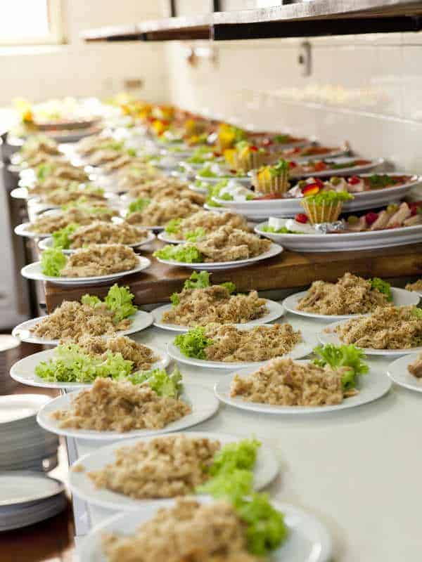 Plates of food in the kitchen waiting to be served at a wedding at Liberton Golf Club Edinburgh