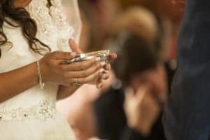 bride holding a traditional scottish quaich at a wedding in East Lothian