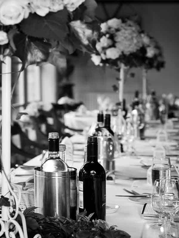 Table set and decorated for wedding catering in East Lothian