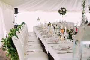 wedding catering table for bride and groom