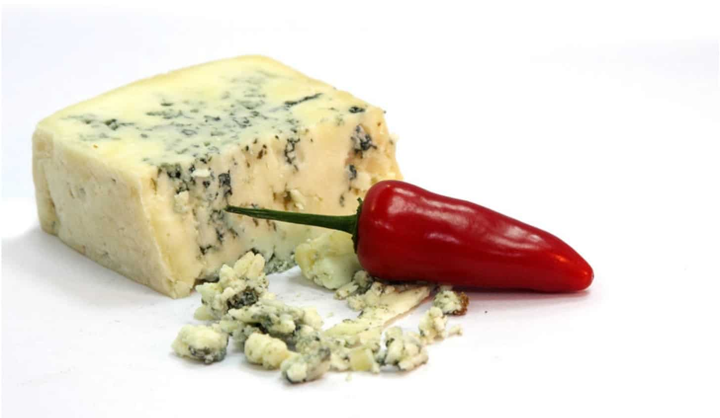 Strong blue cheese and a chili on a chopping board at wedding catering east lothian